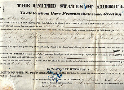 1837 U S General Land Office Document Signed President MARTIN VAN BUREN (by Son)