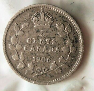 1906 CANADA 5 CENTS - High Value and Grade Silver Coin - Lot #517