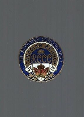 1938 Scottish Curlers Tour  ''RCCC Canadian Branch''  Curling Club pin