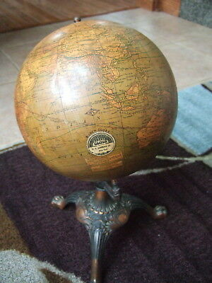 "1920's - 8"" Terrestrial Globe C.S. Hammond & Co. 14"" Claw Footed CAST IRON BASE"