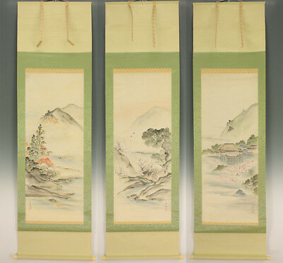 "JAPANESE HANGING SCROLLS : NOMURA BUNKYO ""Spring and Autumn Scenery""  @e418"