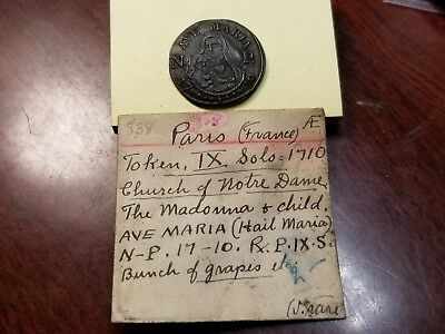 "1710 -Paris,  France  ""ave Maria""  Rare Copper"