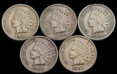 Indian Head Small Cent, Lot of 5 Better grade (XF), Sharp LIBERTY and feathers