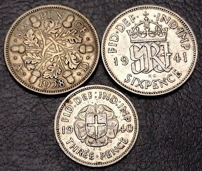 Lot of 3x Great Britain 92.5% Silver Coins 1928 & 1941 Sixpence, 1940 Threepence