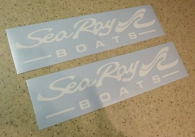 "Sea Ray Boat Decals Die-Cut 2-Pak White 11"" Die-Cut FREE SHIP + Free Fish Decal!"