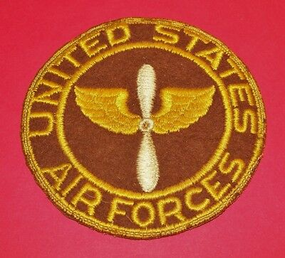 Large Original Cut-Edge Wool Felt Ww2 Aaf Air Force Px Patch, Leather Backing