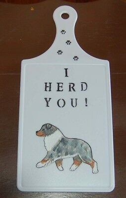 Aussie~~Australian Shepherd Hand Painted  Cutting Board   New~ Ooak
