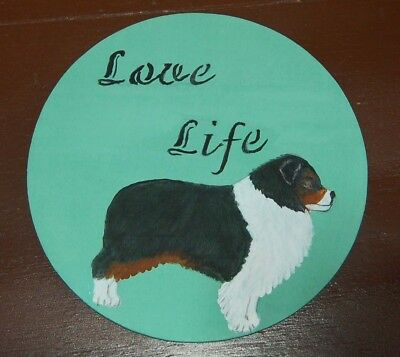 Australian Shepherd ~~Aussie Hand Painted  Sign/plaque  New~ Ooak