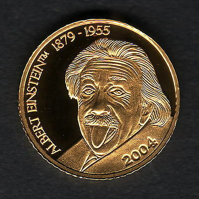 Mariana Islands. 2004 Gold 5 Dollars..  Einstein..  1.224gms  .9999 gold.. Proof