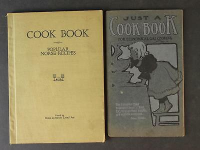 Lot: Two 1902 & 1924 Cook Books~Nore Recipes & Economical Gas Cooking~