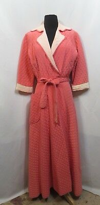 Vintage 40s Dress Dressing Gown Robe Long Wrap Rockabilly Quilted Full Sweep