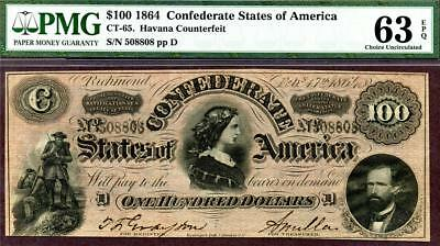 HGR CT-65 1864 $100 Confederate ((FAMOUS Havana Counterfeit)) PMG CHOICE 63EPQ