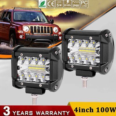 2X 4inch 200W CREE LED Work Light Bar Offroad Spotlight Work Driving Lamp Truck