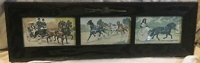 Coaching 3 Pictures Antique Wooden Frame With Whip and Driving Top Hat