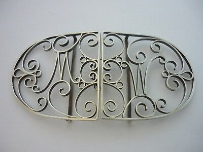 "Superb Rare Large Vintage Unique Sterling Silver ""M"" & ""W"" Design Nurses Buckle"