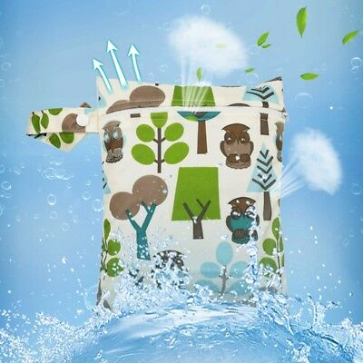 1PC Baby Waterproof Nappy Reusable Washable Dry Wet Cloth Zipper Diaper Tote Bag