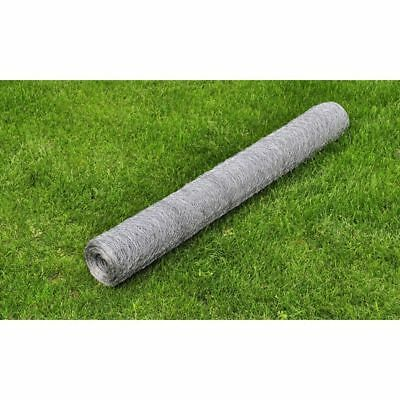 vidaXL 0.5x25m Galvanised Wire Netting Mesh Poultry Fencing Chicken Coop 25mm