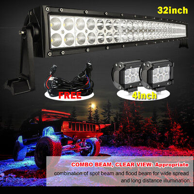 """32inch Curved Led Light bar +2X 4"""" CREE Work Pods Offroad Fog Jeep SUV Truck 30"""""""