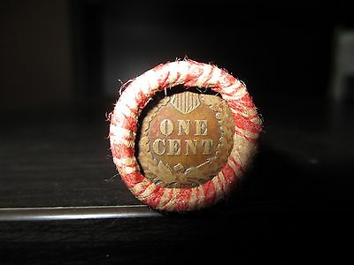 Sealed Wheat Indian Head Penny Mix Shotgun Roll With Indian Cent End Coin Lot A8