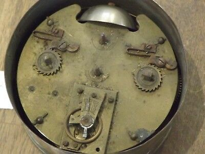 Good Antique French Brass Cased  Drum   Clock With Alarm Bell