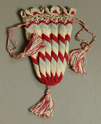 ANTIQUE GEORGIAN EARLY 19TH CENTURY DRAWSTRING SILK CROCHET PURSE or RETICULE
