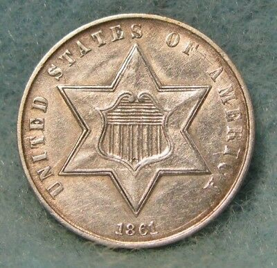 1861 Civil War Era Three Cent Silver Almost Uncirculated * US Coin #2258