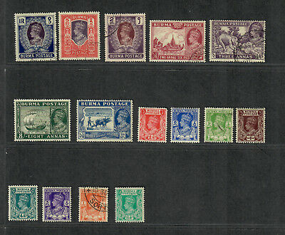 Burma Sc#18A-32 10 U 5M/LH F-VF, Partial Set, 29-30 Crease, Ex 33, Cv. $103.60