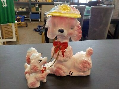 Vintage Wales  Mid-Century Pink Poodle With Pups