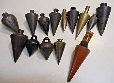 L987- Collection of Vintage Antique Plumb Bobs - CAST IRON & BRASS