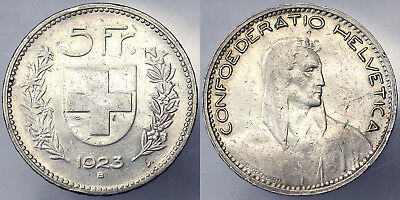 Switzerland 5 Francs 1923 Silver #5282A