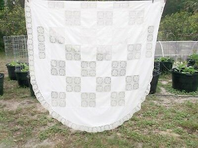 Vintage Shabby Cottage Chic Ivory Lace Patchwork Oval Holiday Tablecloth 66x88