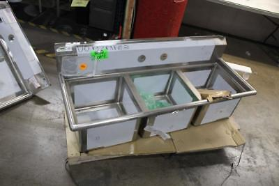 "Regency 60"" 16-Gauge Stainless 3 Section Sink w/Drainboards  17""x17""x12"" Bowls"