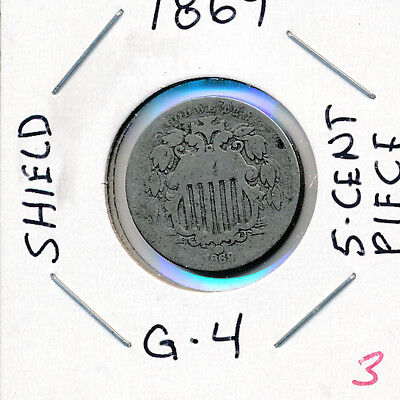 1869 U.s. Shield Nickle Five 5 Cent Piece Nice Coin With Highlight Wear No Rays