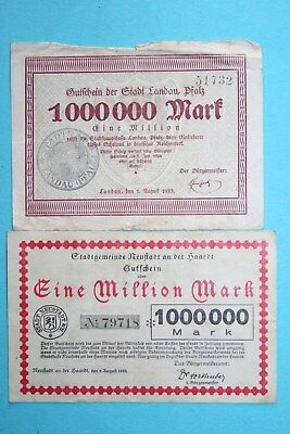Notgeld, Landau (Pfalz), Neustadt a.d. Haardt, 2 x 1 Million Mark, 1923