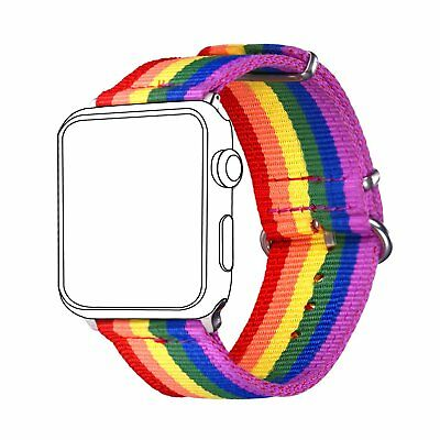Wrist Band Strap For Apple iWatch LGBT Pride Rainbow Colors 42mm New
