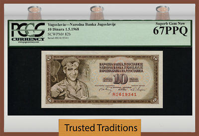 TT PK 82b 1968 YUGOSLAVIA 10 DINARA MALE STEELWORKER PCGS 67 PPQ SUPERB GEM NEW!