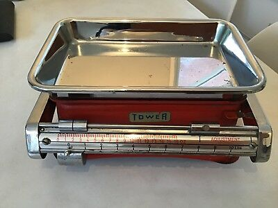 Genuine Vintage - Chrome & Red Tower Kitchen Balance Beam Weighing Scales Retro