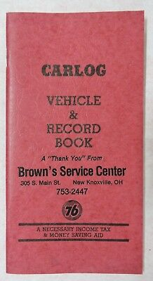 Vtg Union 76 Brown's Service Center Car Log Vehicle Record Book-New Knoxville Oh
