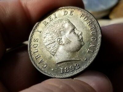 1892 Portugal Silver 500 Reis Beautiful Color