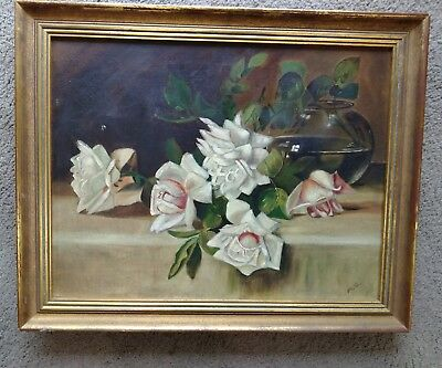 Vintage Antique Oil on Canvas Roses? Southern Magnolia? for Repair Restoration