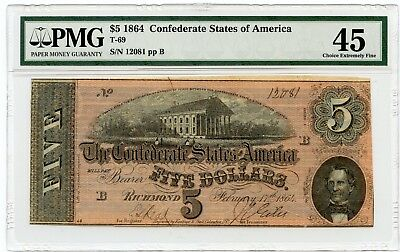 1864 $5 Confederate States of America Note (T-69) Choice Extremely Fine 45 PMG