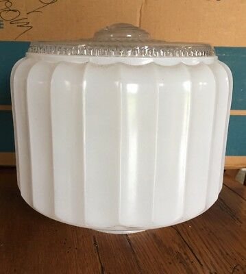 Vintage Ceiling Light Shade Glass Globe Frosted & Clear Kitchen Bath Replacement