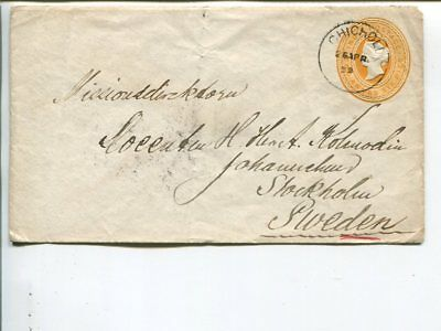 India 2½a stationery cover to Sweden 1899