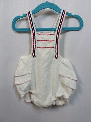 Vintage 50s Romper Sunsuit Sun Suit Cotton Ruffles Terry Cloth Carters Beach RAB