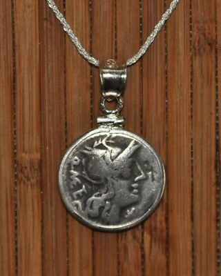 Roman Republic Roma & Jupiter Authentic Denarius Pendant 925 Silver Necklace