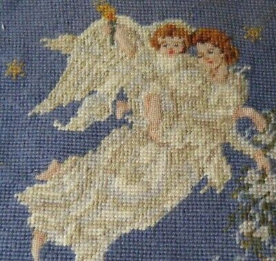 """Antique needlepoint wool H emb/red tapestry angel on sky design panel 10.9.5"""""""