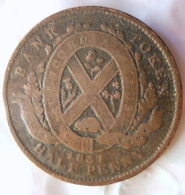 1837 CANADA (MONTREAL) 1/2 PENNY - RARE Vintage Coin - + Value- Lot #518