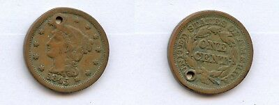 US Holed Coin Collection:  1845 Large Cent Classic Coronet Head Liberty Sharp