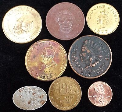 Lot of 7 Good Luck Advertising Tokens Jacksonville IL St. Louis MO Goshen IN PA