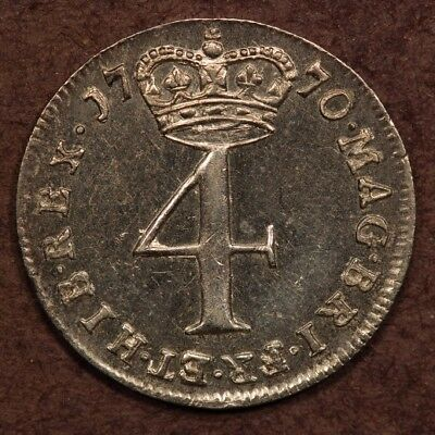 Great Britain Maundy 4 Pence 1770 Silver AU
